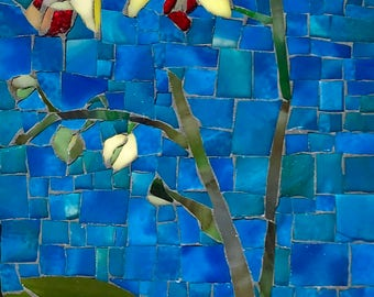 Yellow Orchids I: Stained Glass Mosaic Wall Art