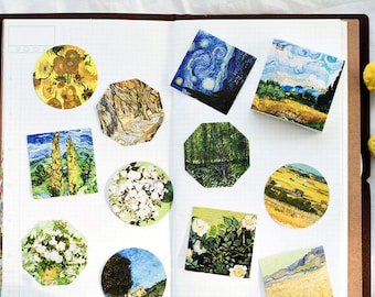 Van Gogh Inspired Sticker Set - 45 pcs, Nature Flower, Painting Style, Card Making