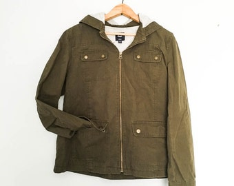 Army Green Jacket Women's Large - Army Green Anorak - Olive green hooded field jacket - Light weight army green jacket