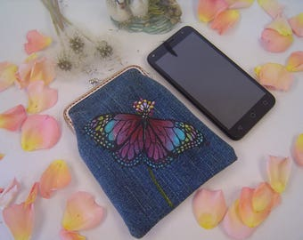 Phone case. Denim kiss lock phone case. Denim bag. Phone pouch. Cell phone case. Hand painted.