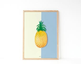 KITCHEN WALL DECOR | Watercolor poster | Pineaple print | Tropical decor | Fruit printable | Instant download printable art | Modern style