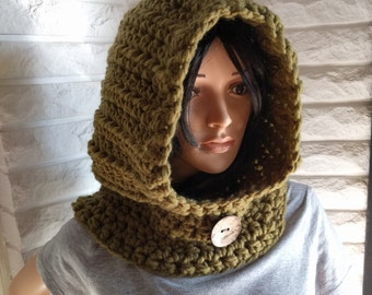 Women's chunky hooded cowl, women's green scoodie, hooded scarf, gifts for her, women's accessories, fall, winter and spring fashion