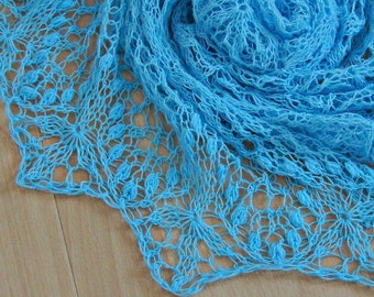 blue lace shawl hand knitted shawl airy merino lace wrap blue wedding shawl lace bridal wrap bridesmaid gift for mom all season wrap shawl