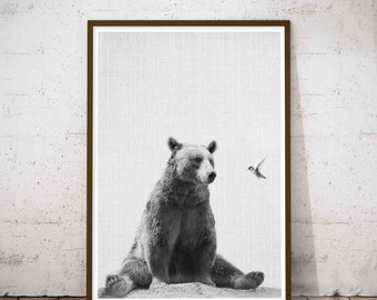 Woodlands Nursery, Baby Woodland Animal Wall Art, Black And White Nursery Art Baby Animals, Baby Wall Art Bear, Bear Prints, Nursery Decor