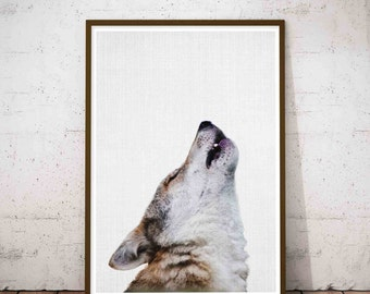 Wolf Wall Print, Woodlands Nursery Wall Art, Black White Grey Decor, Wolf Kids Gift, Forest Animal, Wolf Forest Wall Art, Wolf Animal Art