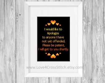 Offensive Cross Stitch Pattern Modern, Funny Quote Cross Stitch Pattern PDF, Heart Stitch Pattern Funny,, Easy Cross Stitch Pattern Orange