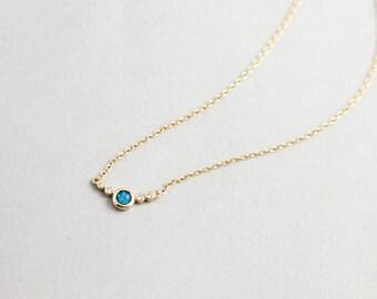 Opal Necklace, Blue Opal Necklace, Dainty Opal Necklace, Blue Opal, Gift For Her, Layering Opal Necklace, Layered Necklace, Valentines, 0065