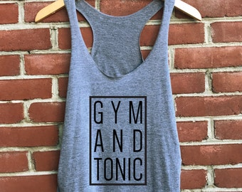 Gym and Tonic Tank Top in Gray - Womens Tanks - Work Out Shirts - Funny Gym Shirts