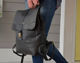 Black leather backpack, Travel backpack, Leather backpack, Leather rucksack, Laptop backpack, Mens leather backpack, Leather backpack women