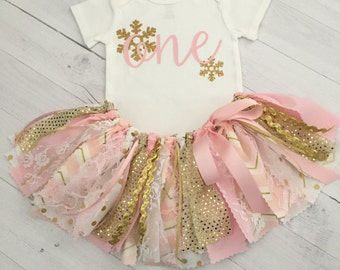 Pink and Gold Winter Wonderland Birthday Outfit, Winter Onederland First Birthday, Snowflake Birthday