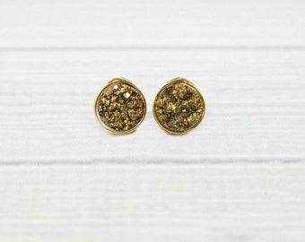 Druzy Studs, Druzy Stud Earrings, Druzy Earrings, Stone Earrings, Wire Wrapped, Bridesmaid Earrings, Gold filled,Jewelry Gifts,Gemstone