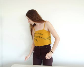Hand embroidered backless top, Linen openback crop top, Mustard blouse, Strap top, One of a kind