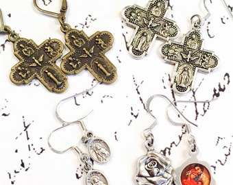 Religious earrings; antique brass or silver four way cross/cruciform, Saint Jude, silver rose/ holy family