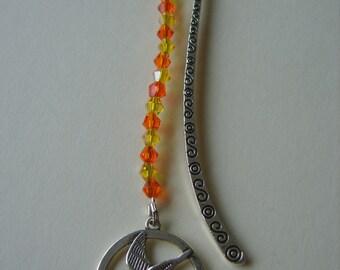 Hunger Games beaded Bookmark, Mockingjay beaded bookmark, kingfisher beaded bookmark, sparkly bookmark