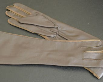 Vintage Ladies Long Brown Vinyl Gloves, Cotton Fourchettes, One Size Fits All, Made in Japan, Winter Hand Warmers, Women's Driving Gloves