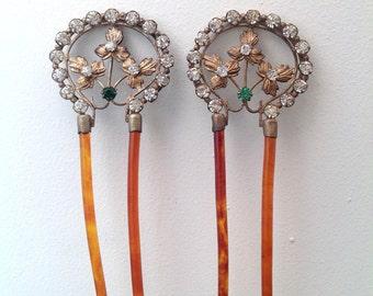 Elegant pair of Belle Epoque antique hair combs