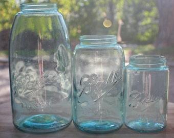 Set of 3 Ball Mason Triple-L Jars HG QT PT
