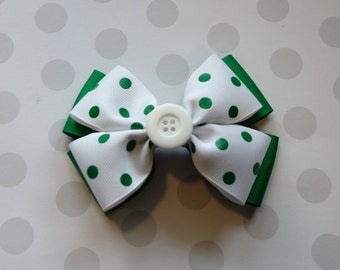 White with Green Polka Dots Hair Bow