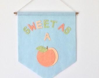 Sweet As a Peach Kid's Room Banner - Custom Colors Available