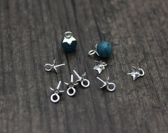 10pcs- 5mm Sterling Silver Flower Bead Cap with Peg for Top Drilled Beads