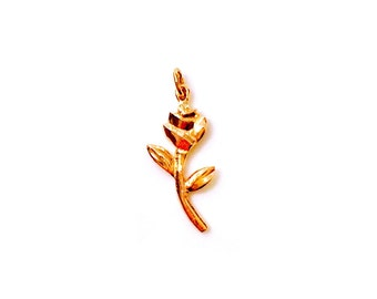 14K Gold Rose Pendant, Rose Charm, Solid Gold Rose Charm, Gold necklace, Rose Jewellery, Rose gold, yellow gold, white gold, Rose necklace