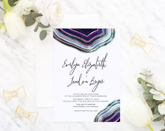 Printable Wedding Invitation Suite / Wedding Invite Set - The Elizabeth Geode Suite