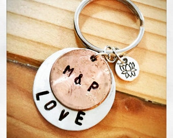 Customize your own personal hand stamped PENNY engraved with your INITIALS and LOVE keychain, for every occasion - dates, names or sayings