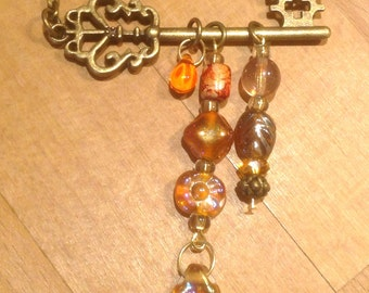 Antique Key Necklace Vintage Key Necklace Skeleton Key Necklace Gold Key Necklace Brass Key Necklace Orange Key Necklace Antiqued Brass