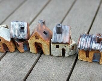 Miniature house, Small houses, little houses, tiny clay house, tiny village, terrarium decor, fairy garden, pottery, ceramics, ceramic house