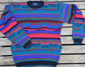 Vintage 80's /90's Colourful Textured 3D Boulevard For Tall Men by Block crewneck knit sweater XL