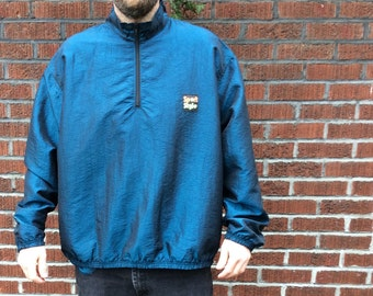 FREE SHIPPING! Vintage 80's / 90's Sport Style pullover windbreaker zip up one size fits all