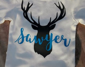 Deer Silhouette Custom Monogrammed Bodysuit White