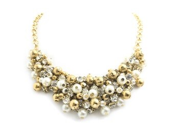 Gold Bead Bib Necklace, Chunky Pearl Necklace, Bridal Necklace, Cluster Necklace, Statement, Wedding Necklace, Rhinestone Necklace, B3165NH