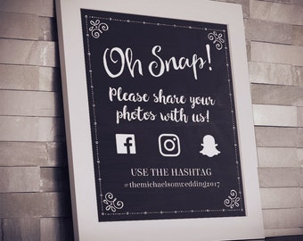 Printable Chalkboard Social Media Wedding or Event Hashtag Geofilter Sign - Black, 2 Sizes, Editable PDF, Instant Download