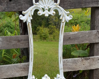 Large distressed Shabby Chic White and Gold Wall Mirror/ Hollywood Regency Mirror/ Ornate Mirror/ Baroque Mirror / Bathroom mirror/ Nursery
