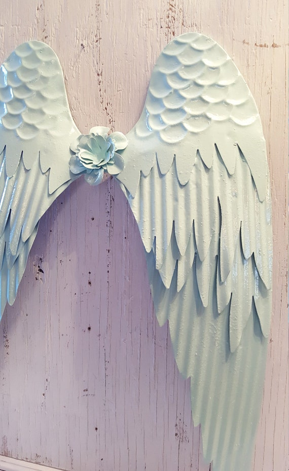 Items similar to baby blue shabby chic metal angel wings for Angel wings wall decoration uk