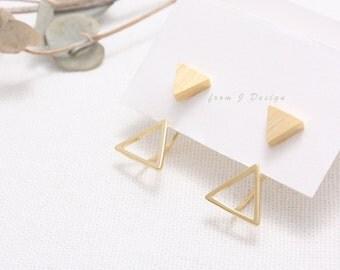 Triangle Front and Open Triangle Back Stud Earrings/  Arrow Ear Jackets
