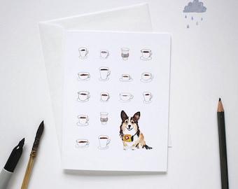 Get well soon card / Corgi gift / Whimsical Corgi card / Watercolor Corgi card / Tricolor Corgi