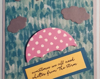 Sometime we all need a little shelter from the storm -  Handmade - Stampin' Up - Greeting Card - Weather Together - Umbrella - Rain