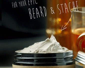 BEARD & STACHE WASH - Whiskey Bourbon and Caramel~organic beard soap~beard shampoo~beard care~mens care~whipped soap~mustache wash~for him