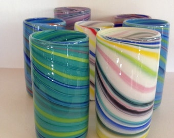 Hand Blown Glass Tumblers, Stemless Wine Glass, Colorful Spiral Drink Glasses, Party Entertaining Glasses, Bar Drink, Kitchen Decor, Drinks