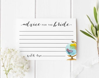 Advice for the Bride Printable, Travel bridal shower, Bridal Shower Advice card, travel theme, Digital advice for the bride insert