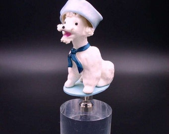 Custom Lamp Final Featuring a Charming White French Poodle with a Light Blue Sailors Hat and a Dark Blue Ribbon