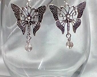 Butterfly earrings antique silver earrings drop earrings dangle earrings butterfly and crystal earrings sterling silver ear hooks pink bead