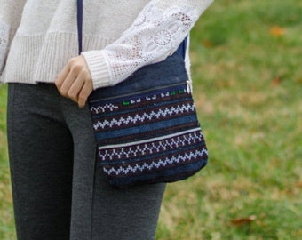 Cross Body Bag Pattern - Dark Stripes - Cloth Purse - Crossbody Purse - Patterned pouch - Clutch - Small Purse