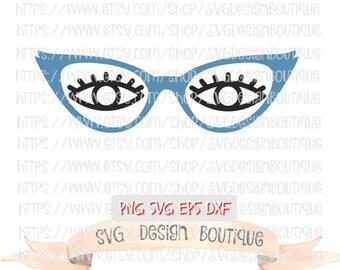 Woman's Eye Glasses SVG  - Cute Svg - Diva Svg - Svg Design - Svg files - Eyes Svg-  Vinyl cutting file Silhouette & Cricut Design - DXF