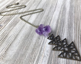 Raw Amethyst Pendant Necklace // Long Necklace // Natural Stone Necklace // Rough Stone Necklace // February Birthstone // Unique Necklace