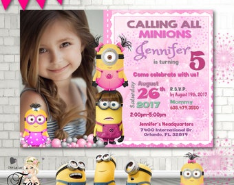 Minion Invitation,Girl Minion Invitation,Pink Minion Invitation,Minion Party Supplies,Minions Pink,Pink Minions Birthday,Minions Birthday