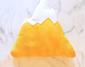 Yellow Colorful Print Mountain Pillow