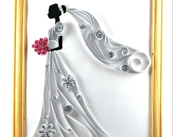 Bride holding flowers Paper quilling framed poster